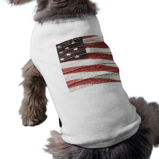 Painted American Flag on Rustic Wood Texture Sleeveless Dog Shirt