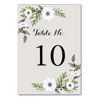 Painted Anemones - Table Number