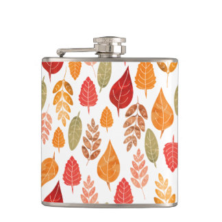 Painted Autumn Leaves Pattern Hip Flask