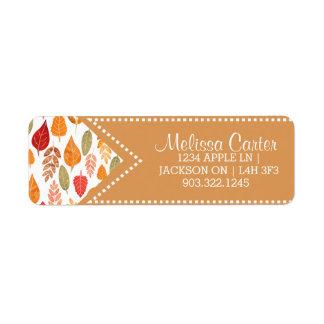 Painted Autumn Leaves Pattern Return Address Label