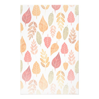 Painted Autumn Leaves Pattern Stationery