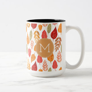 Painted Autumn Leaves Pattern Two-Tone Coffee Mug