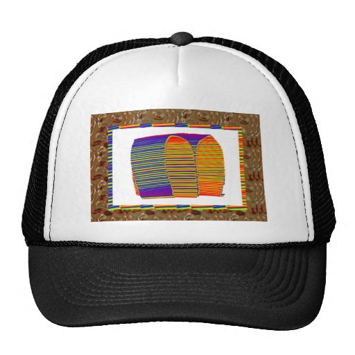 Painted Bamboo Straw Mat HUT Mesh Hats