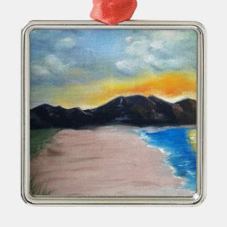 Painted Beach Scene Metal Ornament