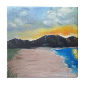Painted Beach Scene Tile