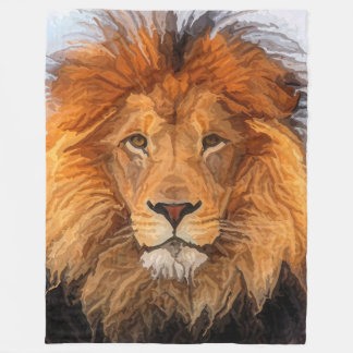 Painted Big Cat Lion King of Beast Fleece Blanket