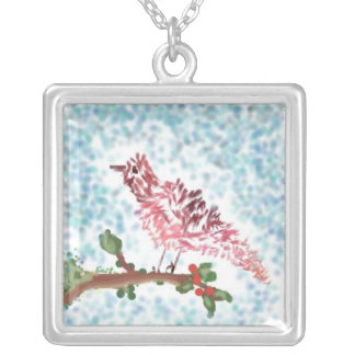 Painted Bird On Branch Square Pendant Necklace
