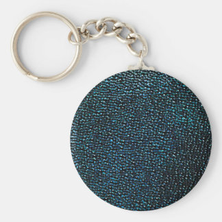 Painted blue gems basic round button key ring