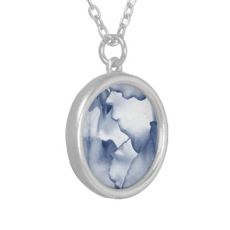 Painted Blue Petals Silver Plated Necklace