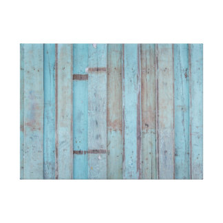 Painted Blue Wooden Beach Panel. Canvas Print