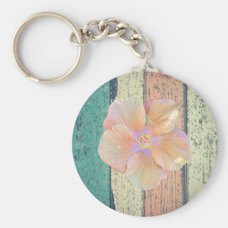 Painted boardwalk wood, hibiscus keychain