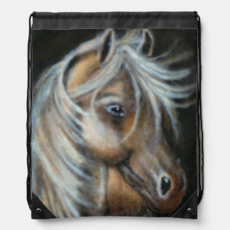 Painted brown horse drawstring bag