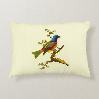 Painted Bunting Bird Accent Pillow