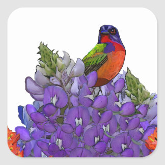 Painted Bunting on Bluebonnets Square Sticker