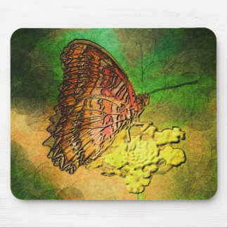 Painted Butterfly on Flower Stem Mouse Pad