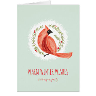 Painted Cardinal Wreath Folded Winter Holiday Card