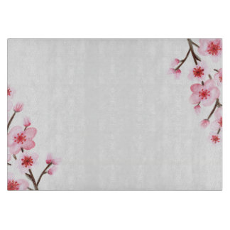 Painted Cherry Blossoms Glass Cutting Board