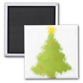 Painted Christmas Tree Square Magnet