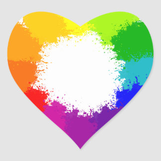 Painted Color Wheel Artist and Art Teacher Heart Sticker