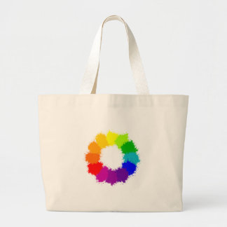 Painted Color Wheel Artist and Art Teacher Large Tote Bag
