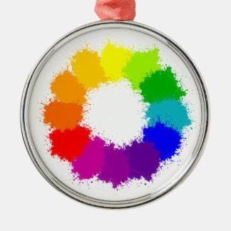 Painted Color Wheel Artist and Art Teacher Metal Ornament