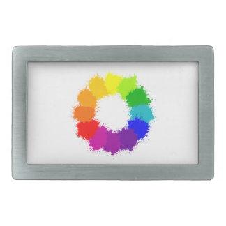 Painted Color Wheel Artist and Art Teacher Rectangular Belt Buckles