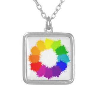 Painted Color Wheel Artist and Art Teacher Silver Plated Necklace