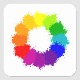 Painted Color Wheel Artist and Art Teacher Square Sticker