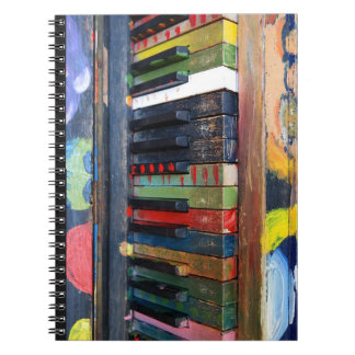 Painted Colorful Antique Piano Keys Notebook