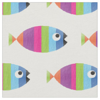 Painted Colorful Fish Striped Aquarium Ocean Life Fabric