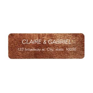 Painted copper color modern simple return address return address label
