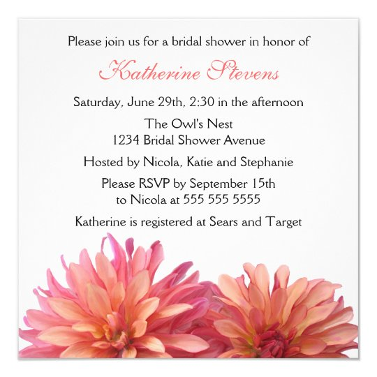 Painted Dahlia in Pink and Coral Bridal Shower Card