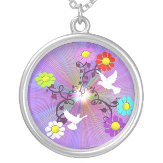 Painted Daisies and Doves Necklace