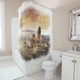 Painted Desert Horse Shower Curtain, pick color! Shower Curtain
