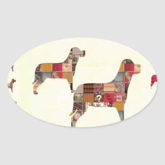 Painted DOGS Gifts Pet KIDS Festival Xmas Diwali Oval Sticker