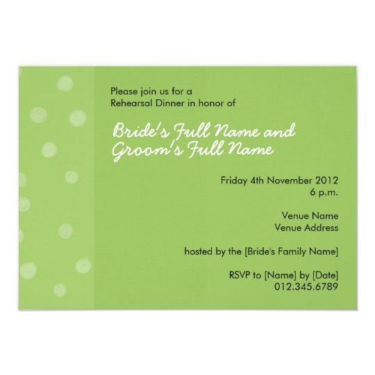 Painted Dots green Rehearsal Dinner Invitation