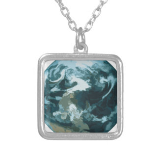 Painted Earth Silver Plated Necklace