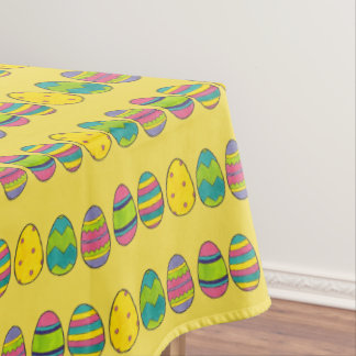 Painted Easter Basket Egg Hunt Colorful Eggs Tablecloth