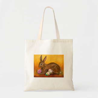 painted easter bunny budget tote bag