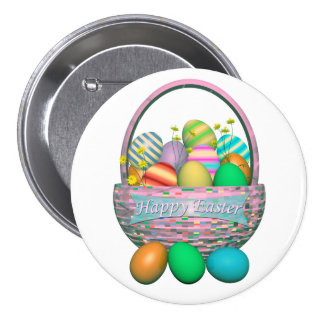 Painted Easter Eggs in Basket Pinback Button