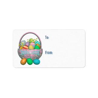 Painted Easter Eggs in Basket Gift Tag Address Label