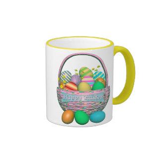 Painted Easter Eggs in Basket Coffee Mugs