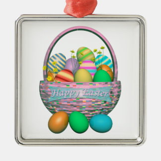 Painted Easter Eggs in Basket Silver-Colored Square Decoration