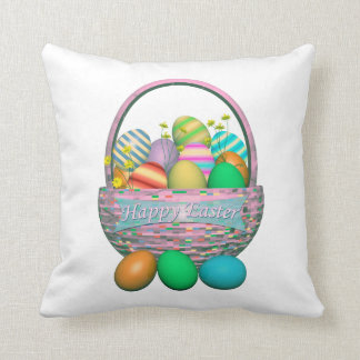 Painted Easter Eggs in Basket Throw Cushions