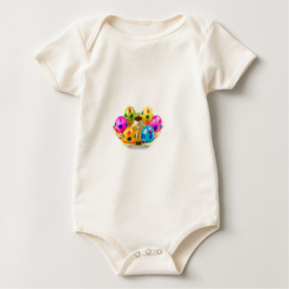 Painted easter eggs in gold tray isolated on white baby bodysuit