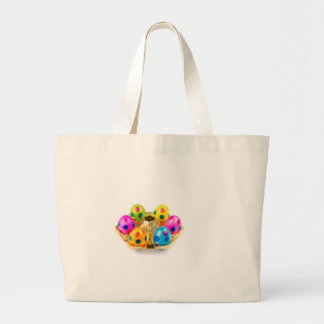Painted easter eggs in gold tray isolated on white large tote bag