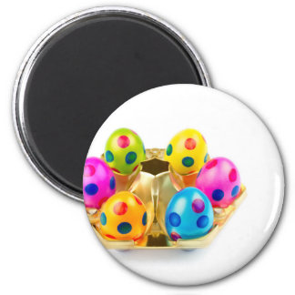 Painted easter eggs in gold tray isolated on white magnet