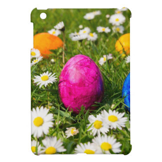 Painted easter eggs in grass with daisies cover for the iPad mini