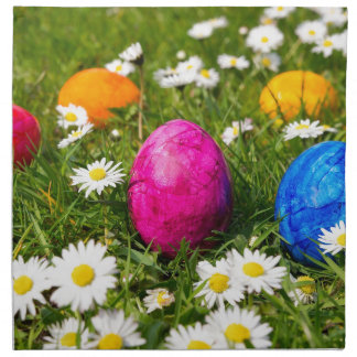 Painted easter eggs in grass with daisies napkin