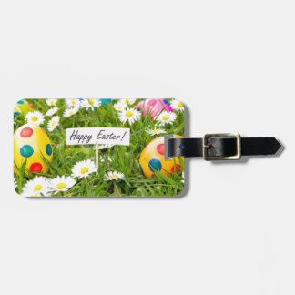 Painted Easter eggs in grass with white daisies Bag Tag